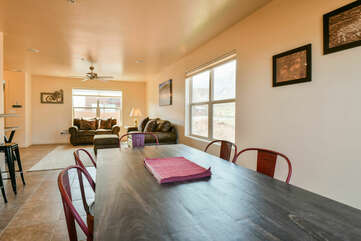 Dining area and living room.