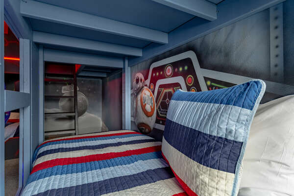 Each bunkbed is themed with one of their favorite characters