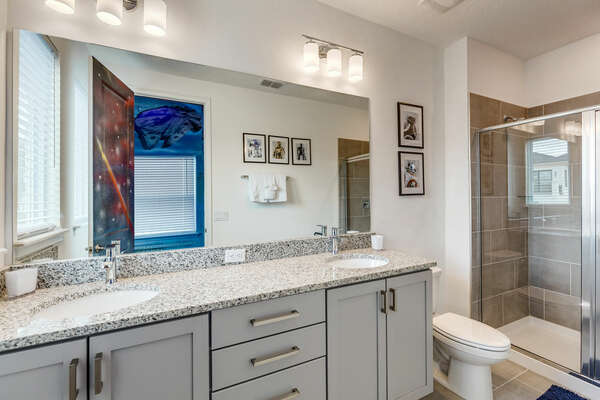Kids can get ready at the same time in the ensuite bath