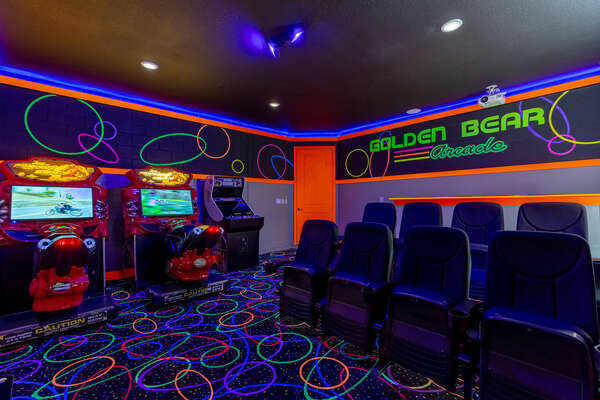 Watch a family favorite movie on the large projection screen or play on one of the arcade games