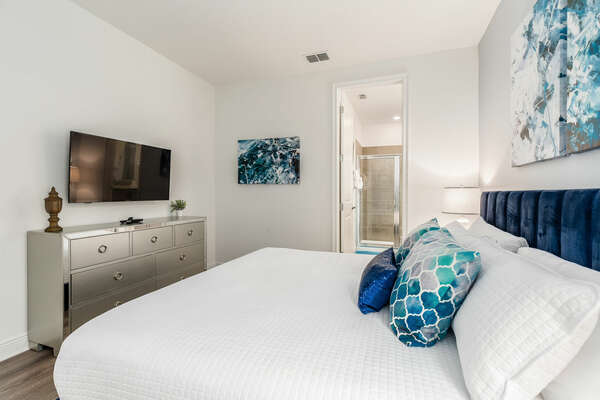This bedroom features a king bed