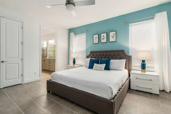 Take a nap in the upstairs bedroom with a king size bed