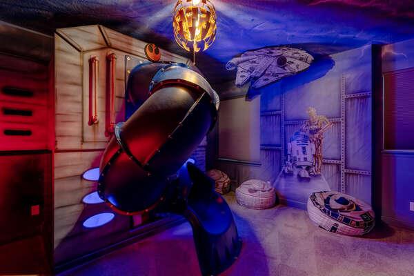 Travel to galaxies far far away in this custom-designed kids bedroom.