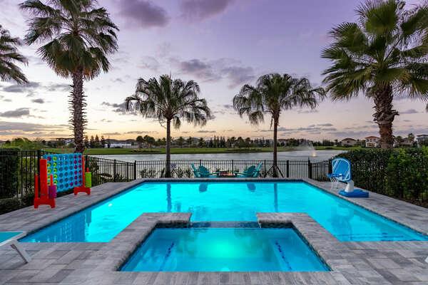 Pool lights illuminate the pool perfect for a night swim