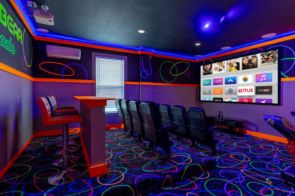 Never lack entertainment with the home theater/game room!
