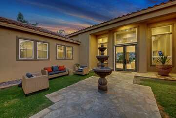 Huge private courtyard with plenty of moveable seating to watch the Bocce Ball tournaments