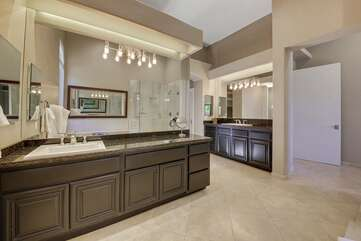 The master bathroom is enormous with his & hers separate sinks