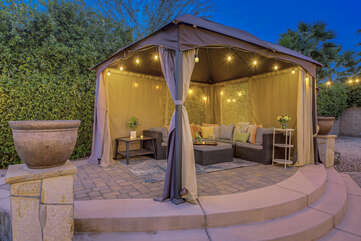 Enjoy some lite snacks in this Vegas style cabana, the string lights will help set the mood.