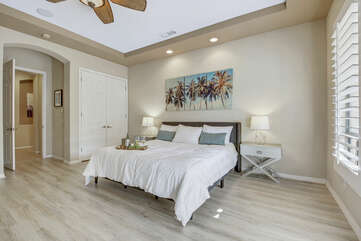 You will be so comfortable in the Master Suite 1 with the switch-controlled ceiling fan and a walk-in closet.