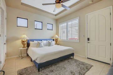 The detached Casita Suite 2, located in the backyard, features a Cal King-sized Bed, Twin-sized Convertible Sofa Sleeper, and a 32-inch JVC HD television.