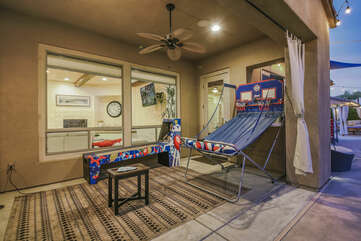 These fun games are located directly outside the Master Suite.  The kids (& adults) will love to play Skeeball and Pop Shot!