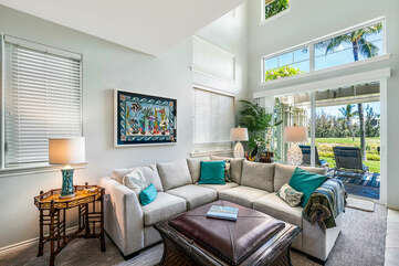 Living Area with Sectional Sofa and Lanai Access