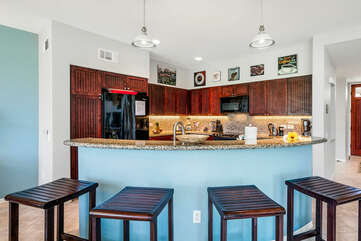 Barr Seating for 4 in the Fully Kitchen at Waikoloa Fairways Rental