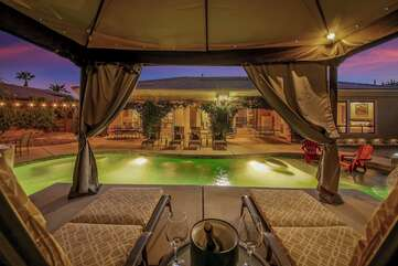 The Vegas style cabana will set the mood for a fun vacation.