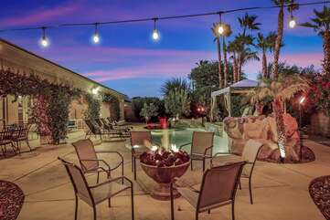 Warm up by the fire pit with seating for 6 and engage in some good conversation.
