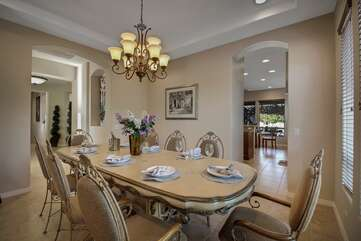 The formal dinning space has room for 8. Need a private chef? Our concierge service can set that up!