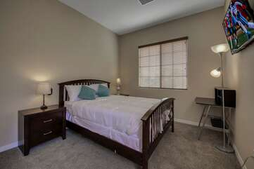 Casita Suite 3 is located in the courtyard and features a  Queen-sized Bed, 42-inch TCL by Roku Smart television with private, en suite bathroom .