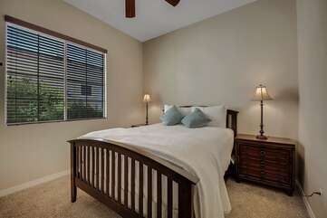 Bedroom 5 is located next to the front door, featuring a Queen-sized Bed and 42-inch TCL by Roku Smart television.
