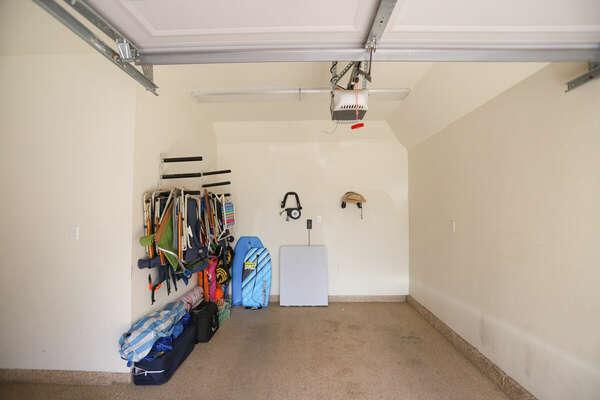 Parking & Beach Items in Garage.