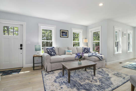 Living room with Comfortable seating and modern coastal decor-16 Middleton Drive West Harwich Cape Cod -New England Vacation Rentals