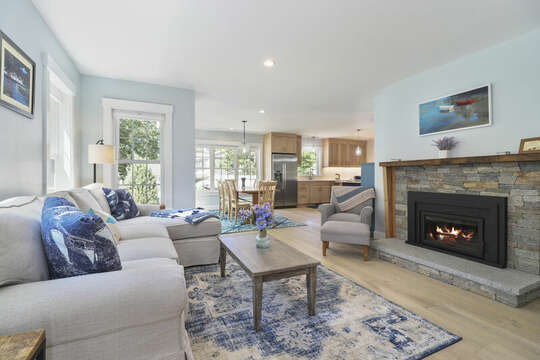 Living room opens to dining room and kitchen.-16 Middleton Drive West Harwich Cape Cod - New England Vacation Rentals-Living room opens to dining room and kitchen.