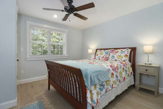 Bedroom #3 Queen bed with ceiling fan , 2 night stands and closet.-16 Middleton Drive West Harwich Cape Cod -New England Vacation Rentals