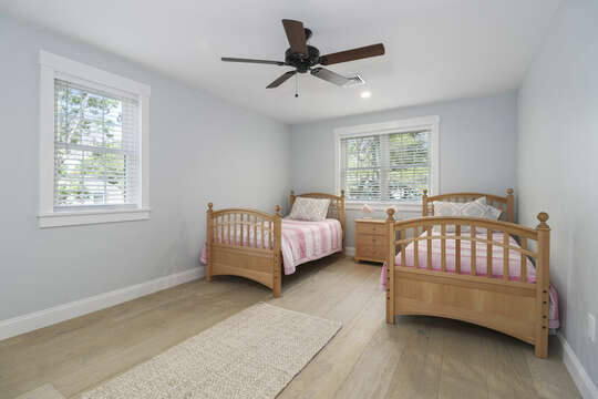 Bedroom #4- Two Twin beds, ceiling fan, night stand, 2 closets and built in shelves-16 Middleton Drive West Harwich Cape Cod -New England Vacation Rentals