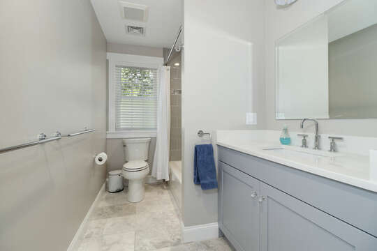 Bathroom #3 with a shower / tub combo and ample counter space-16 Middleton Drive West Harwich Cape Cod -New England Vacation Rentals