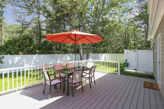 Back deck with fenced in yard-16 Middleton Drive West Harwich Cape Cod -New England Vacation Rentals