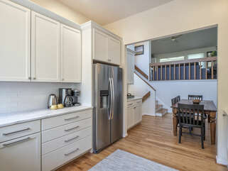 Kitchen adjoins the dining area