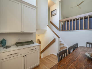 Stairs leading up to living room area