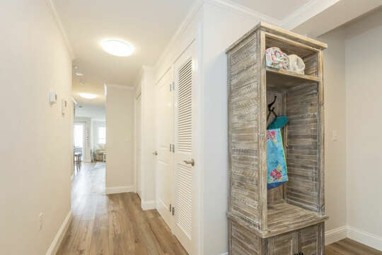 Entry to Unit 201B with hall tree to hang your belongings - 405 Old Wharf Road-Dennisport Cape Cod- New England Vacation Rentals