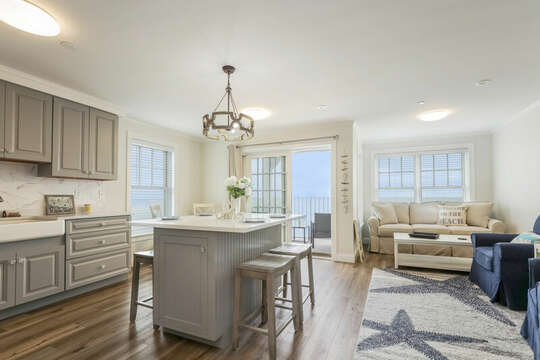 Open concept Kitchen and living area. Beautiful Ocean views! 405 Old Wharf Road-Dennisport Cape Cod- New England Vacation Rentals