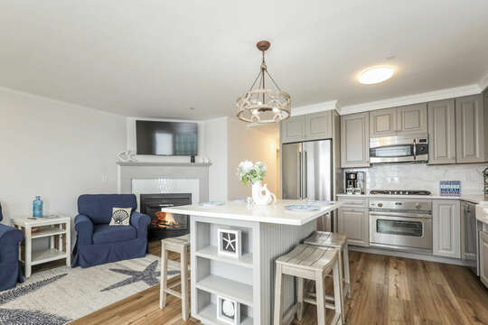 Open concept Kitchen/Living room, center island with seating for 4 - 405 Old Wharf Road-Dennisport Cape Cod- New England Vacation Rentals