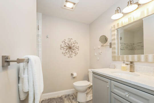 En-suite full bathroom with glass shower - 405 Old Wharf Road-Dennisport Cape Cod- New England Vacation Rentals