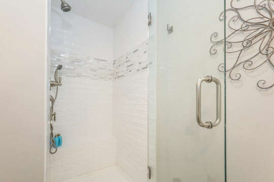 En-suite full bathroom with glass enclosed shower - 405 Old Wharf Road-Dennisport Cape Cod- New England Vacation Rentals