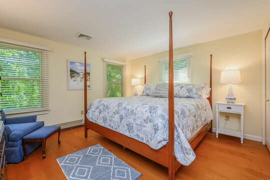 Bedroom # 3 with King bed nightstands , reading chair with ottoman and dresser, double closet- 80 Lienau Dr Chatham Ma - Cape Cod- New England Vacation Rentals