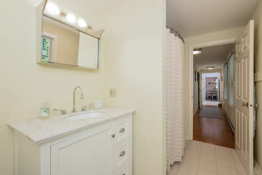Bathroom # 2 full bath with Shower / tub combo, vanity and medicine cabinet- 80 Lienau Dr Chatham Ma - Cape Cod- New England Vacation Rentals