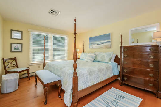 Bedroom # 2 with King bed, dresser , bench and sitting chair- 80 Lienau Dr Chatham Ma - Cape Cod- New England Vacation Rentals