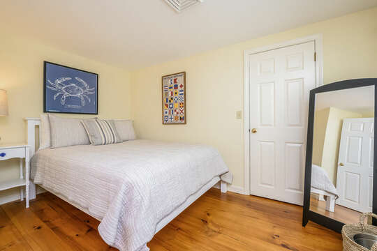 Bedroom #1 with Queen bed , nightstand and closet, is off the living room 80 Lienau Dr Chatham Ma - Cape Cod- New England Vacation Rentals