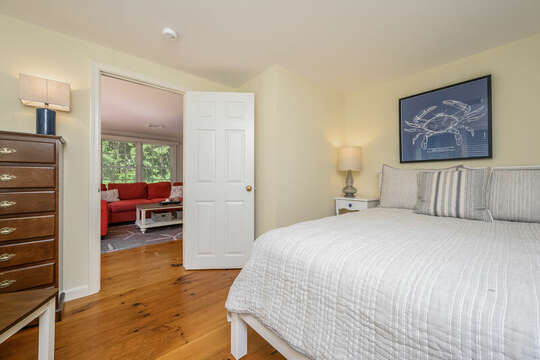 Bedroom #1 is off the living room with Queen bed, dresser and night stand - 80 Lienau Dr Chatham Ma - Cape Cod- New England Vacation Rentals