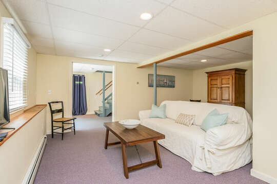 Finished basement with couch, flat screen TV  80 Lienau Dr Chatham Ma - Cape Cod- New England Vacation Rentals