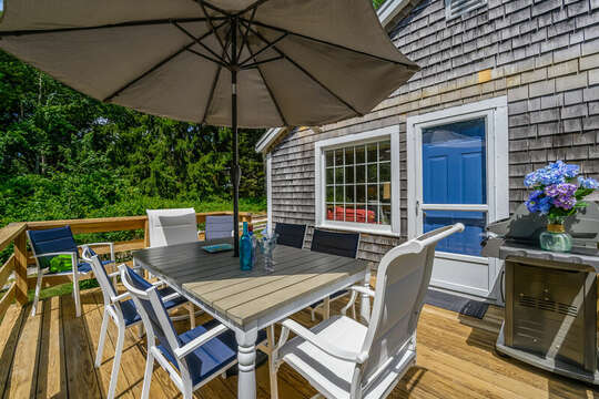 Deck off of Living room with grill and ample seating for el fresco dining 80 Lienau Dr Chatham Ma - Cape Cod- New England Vacation Rentals