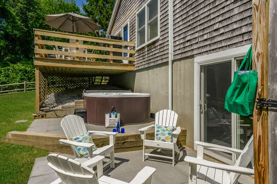 Patio area next to hot tub and out door shower- with seating for 4- 80 Lienau Dr Chatham Ma - Cape Cod- New England Vacation Rentals