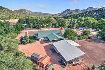 Aerial shot of the home, guesthouse and stalls at Diamond Spirit Ranch.