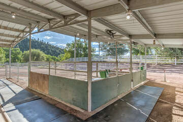 Both horse stalls have fans, mats and direct access to a turn out area.
