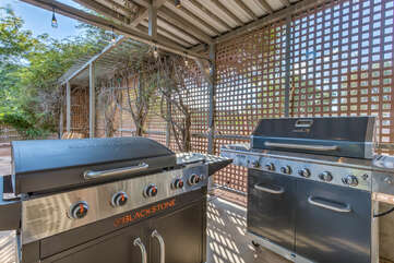 Two propane grills are ready for you to prepare your favorite barbecued cuisine
