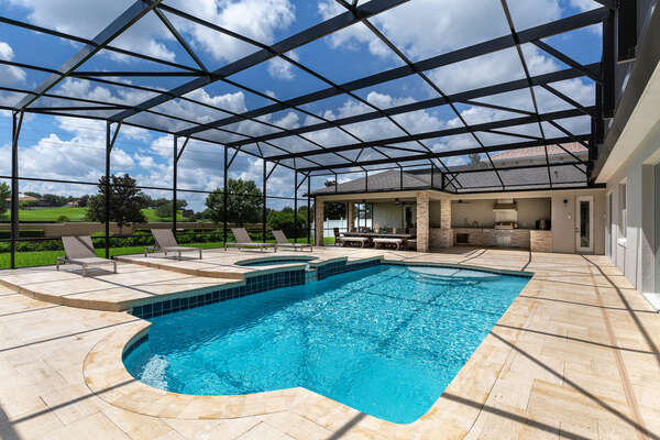 Guests can enjoy the plenty of space on their enclosed pool deck