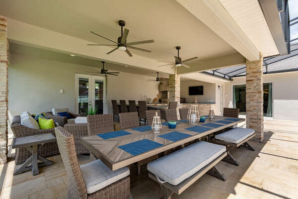 The outdoor patio provides seating for the whole family