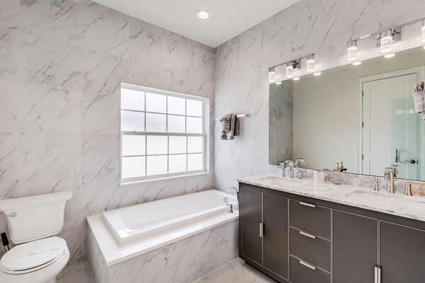 Beautiful marble tub and countertops